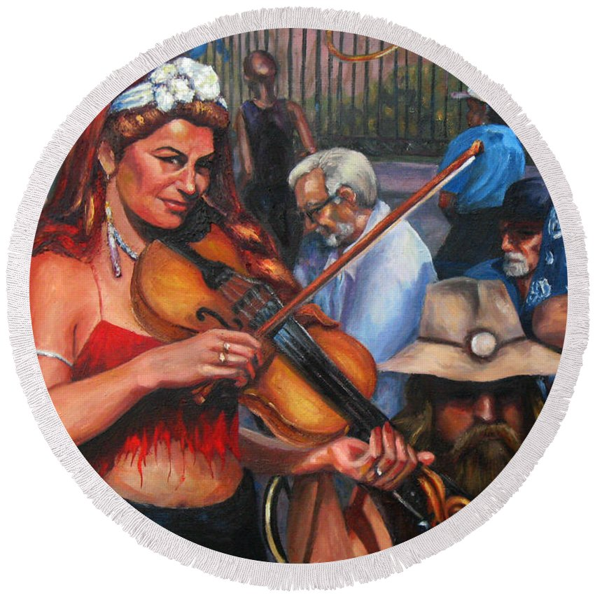 New Orleans Round Beach Towel featuring the painting Washboard Lissa On Fiddle by Beverly Boulet