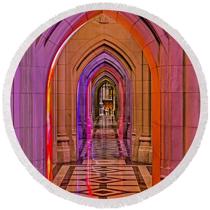 Washington Cathedral Round Beach Towel featuring the photograph Washington Cathedral Light Show by Susan Candelario