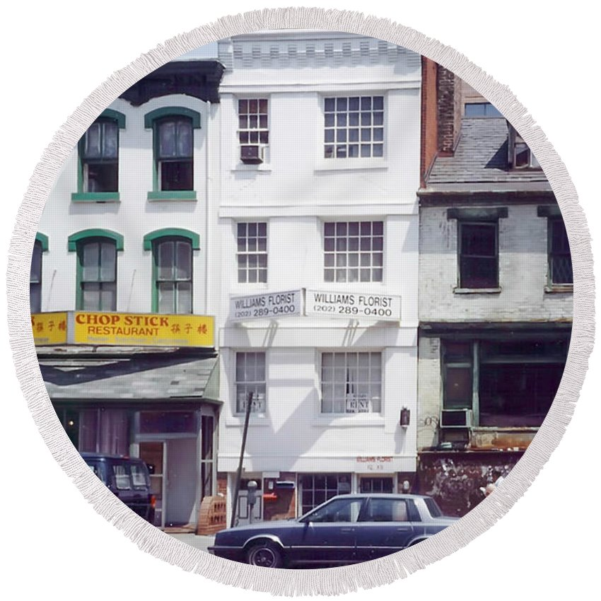 View Of Washington's Chinatown In The 1980s. Round Beach Towel featuring the photograph Washington Chinatown In The 1980s by Thomas Marchessault