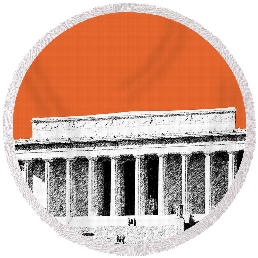 Architecture Round Beach Towel featuring the digital art Washington Dc Skyline Lincoln Memorial - Coral by DB Artist