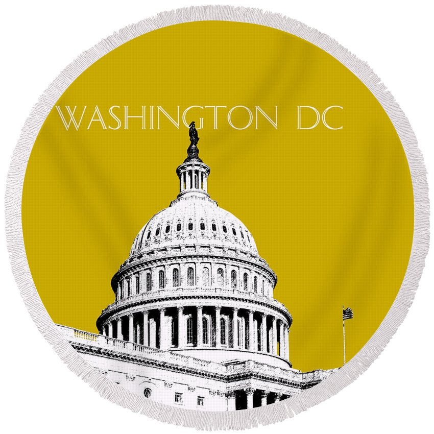 Architecture Round Beach Towel featuring the digital art Washington Dc Skyline The Capital Building - Gold by DB Artist