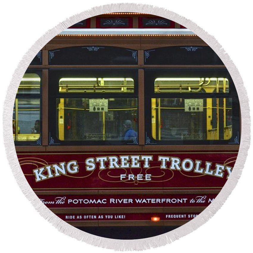 Washington Round Beach Towel featuring the photograph Washington Dc Trolley by Frozen in Time Fine Art Photography