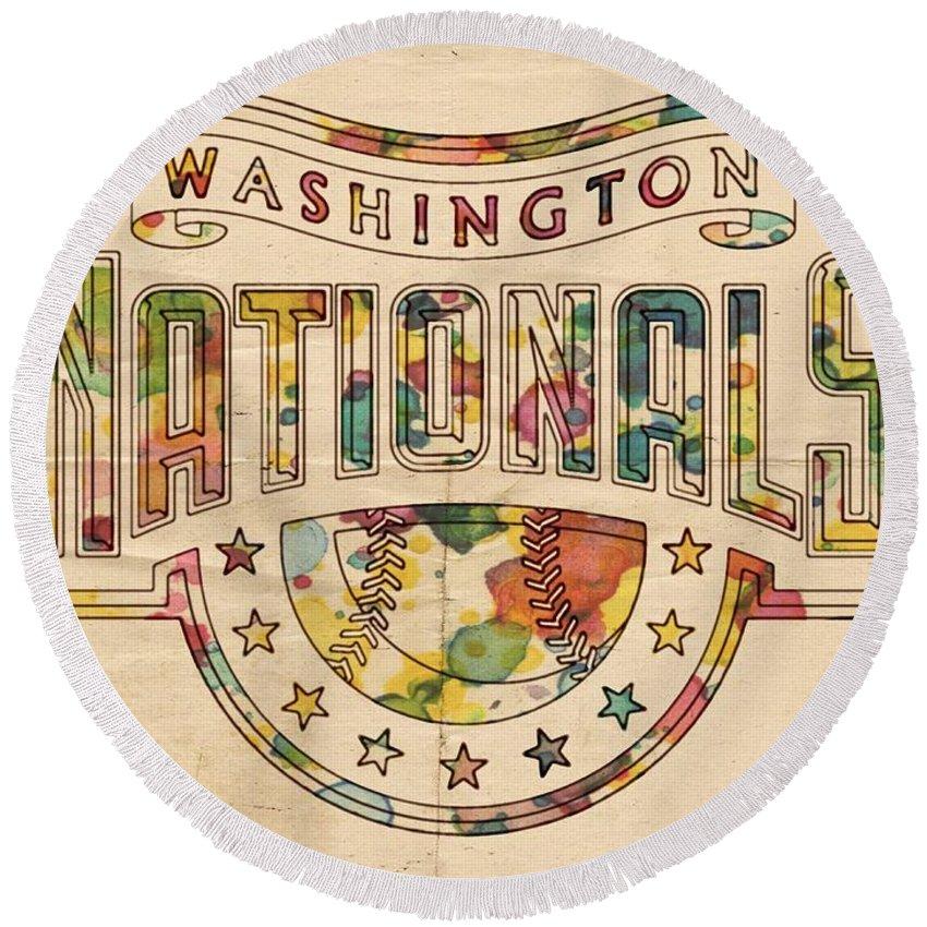 Washington Nationals Round Beach Towel featuring the painting Washington Nationals Poster Art by Florian Rodarte