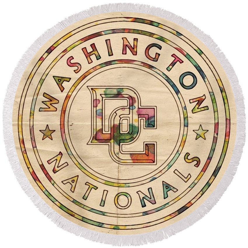 Washington Nationals Round Beach Towel featuring the painting Washington Nationals Poster Vintage by Florian Rodarte