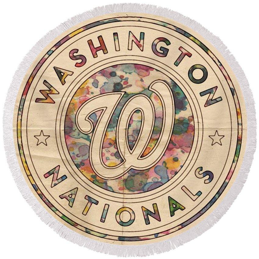 Washington Nationals Round Beach Towel featuring the painting Washington Nationals Vintage Art by Florian Rodarte