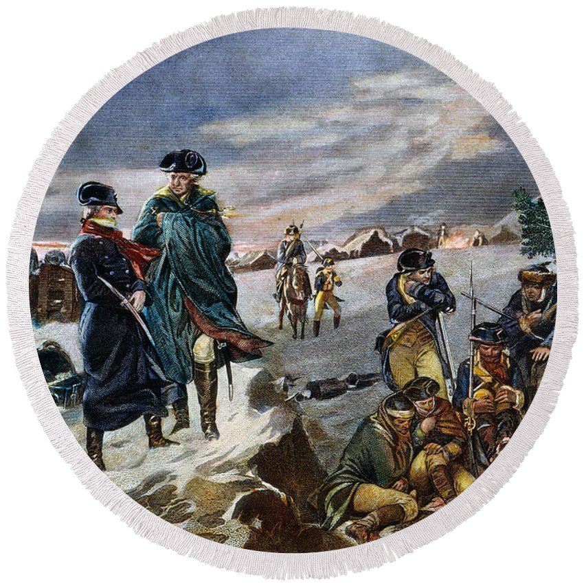 1777 Round Beach Towel featuring the photograph Washington: Valley Forge by Granger
