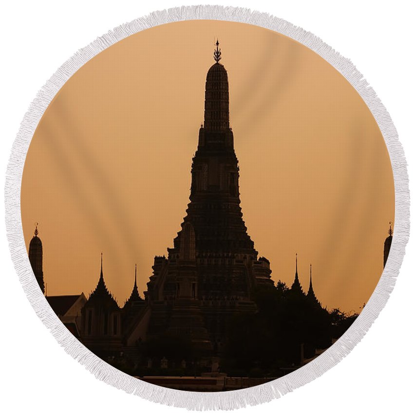 3scape Photos Round Beach Towel featuring the photograph Wat Arun by Adam Romanowicz