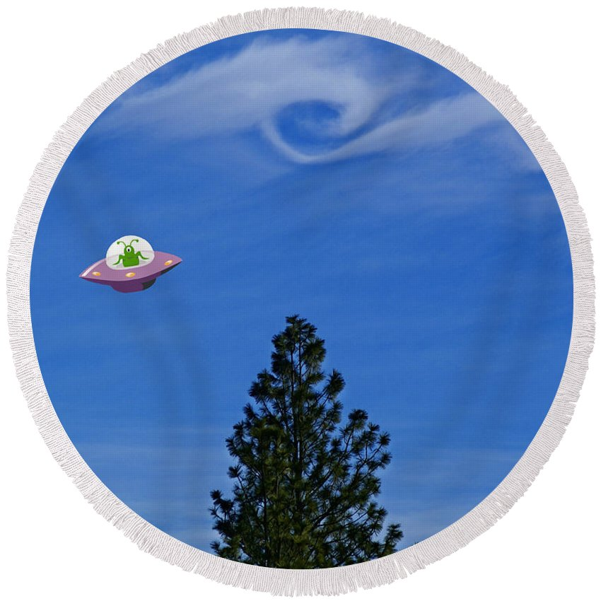 Aliens Round Beach Towel featuring the photograph Watch Out For That Tree by Ben Upham III
