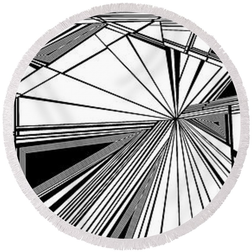 Dynamic Black And White Round Beach Towel featuring the painting Watchers by Douglas Christian Larsen