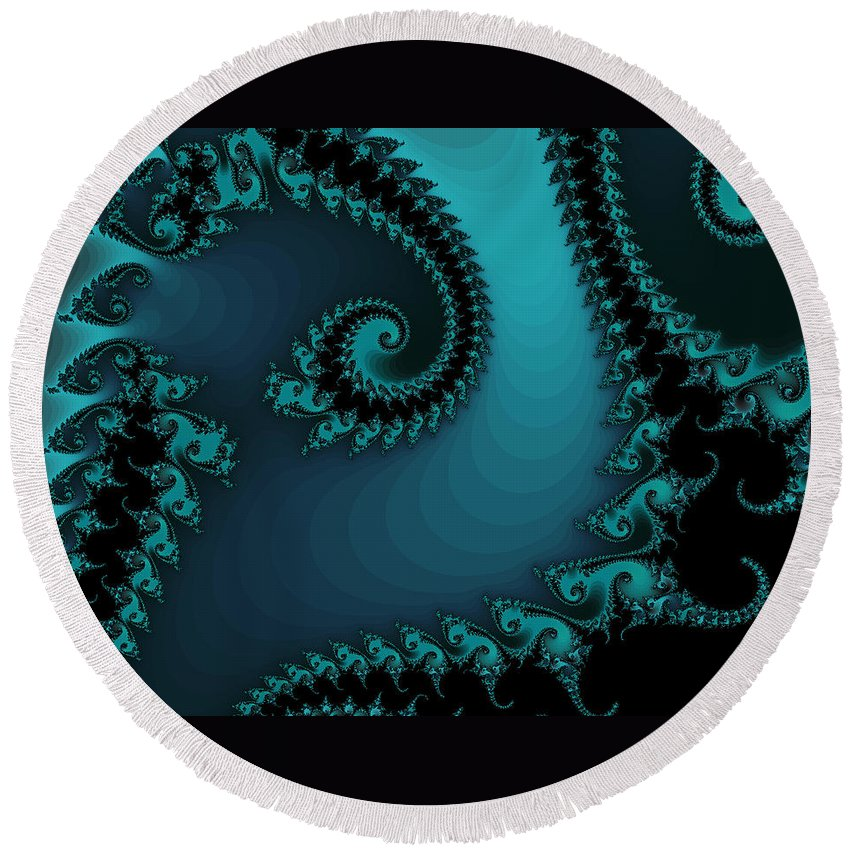 Fractal Art Round Beach Towel featuring the digital art Watchers On The Chalcedony Slide by Elizabeth McTaggart