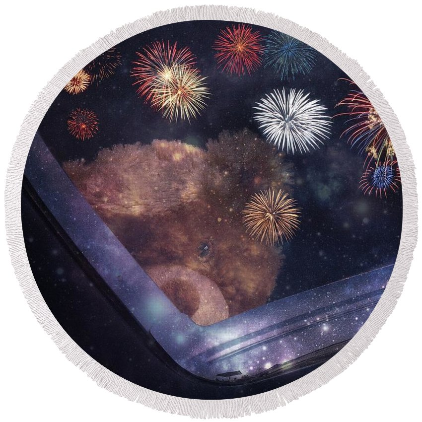 Bear Round Beach Towel featuring the photograph Watching Fireworks by Bobbee Rickard