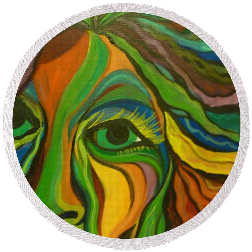 Woman Art. Abstract Art Round Beach Towel featuring the painting Watching by Kelly Simpson