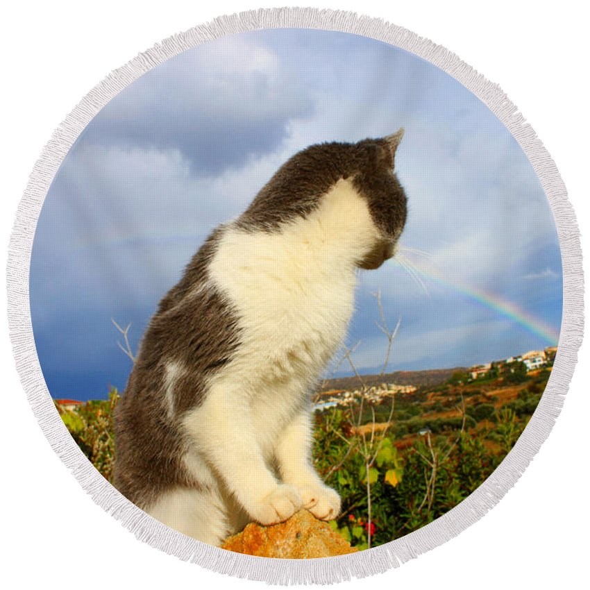 Rainbow Round Beach Towel featuring the photograph Watching The Rainbow by Augusta Stylianou