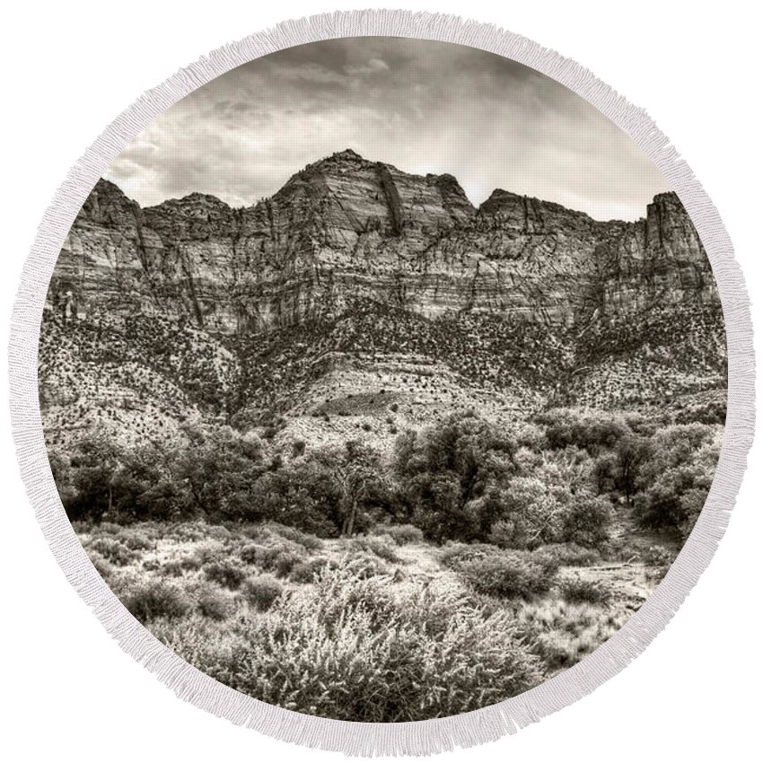 Utah Round Beach Towel featuring the photograph Watchman Trail In Sepia - Zion by Tammy Wetzel