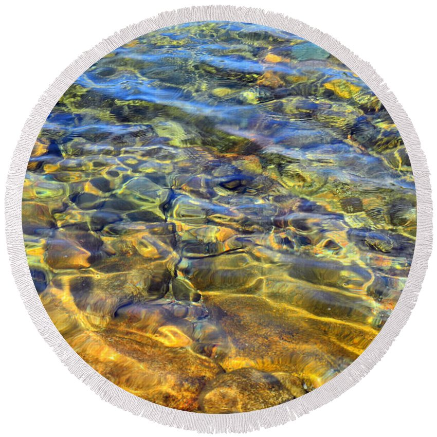 Pond Round Beach Towel featuring the photograph Water Abstract by Lynda Lehmann