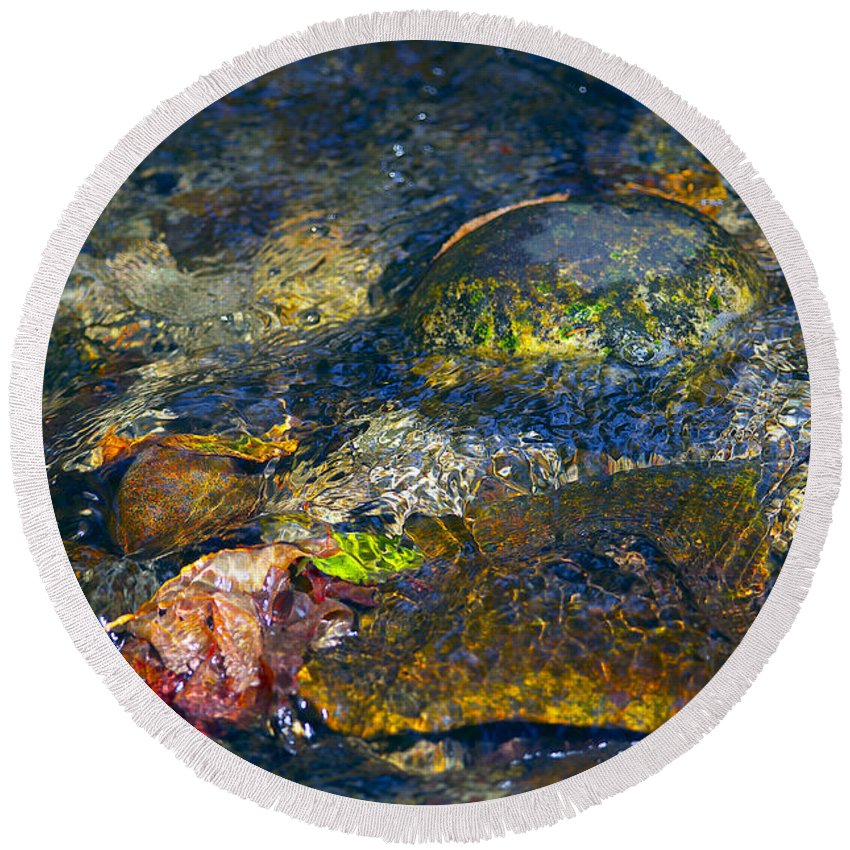 Autumn Leaves Round Beach Towel featuring the photograph Water Abstract by Sharon Talson