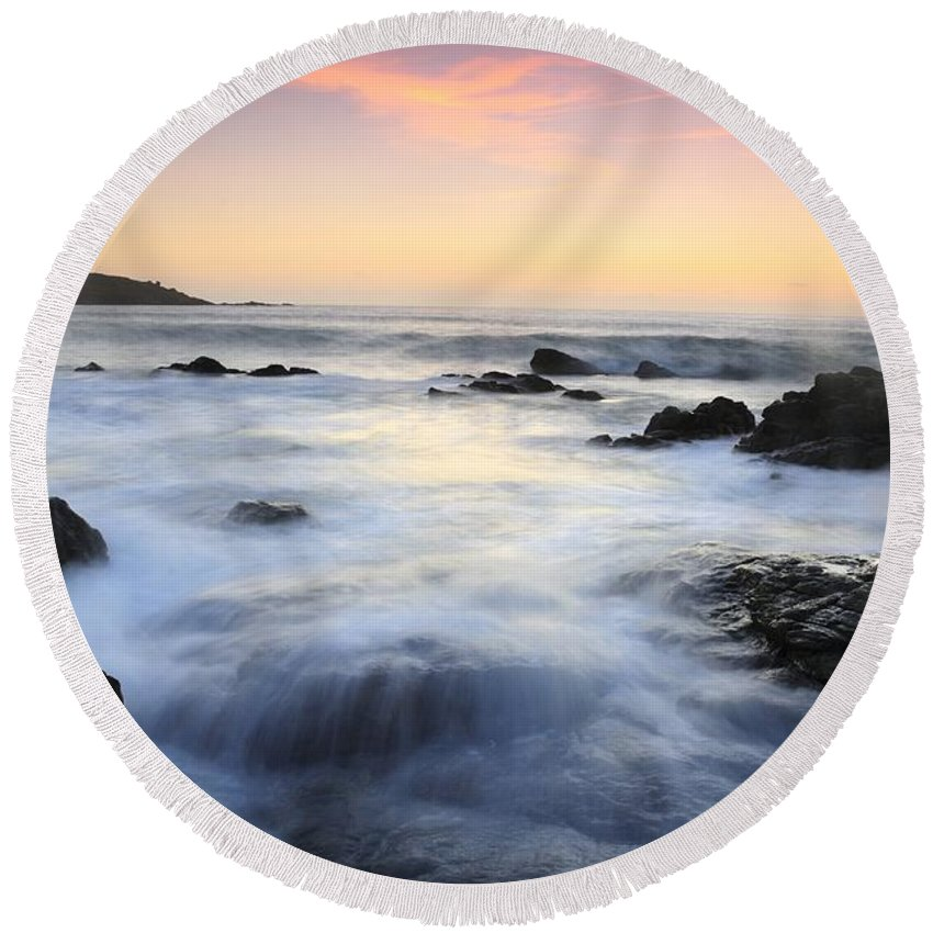 Water And The Sunset Round Beach Towel featuring the photograph Water And The Sunset by Jenny Potter