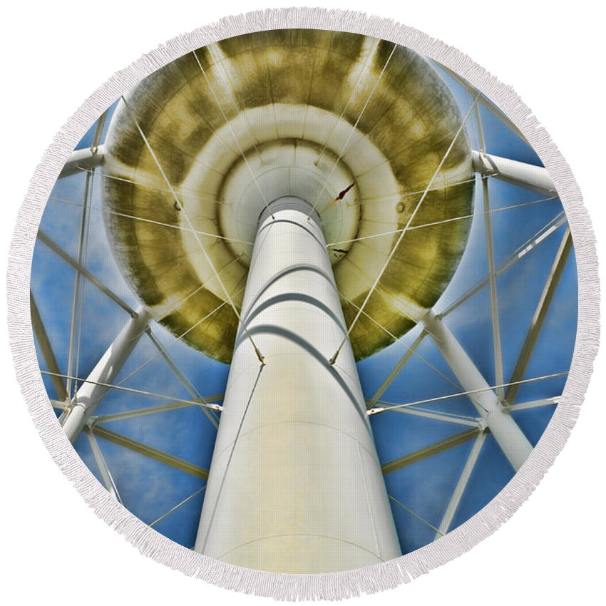 Water Tower Round Beach Towel featuring the photograph Water Belly II by Debbie Portwood