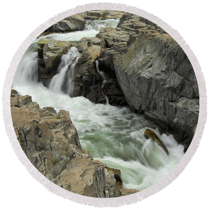 Yuba River Round Beach Towel featuring the photograph Water Canyon by Donna Blackhall