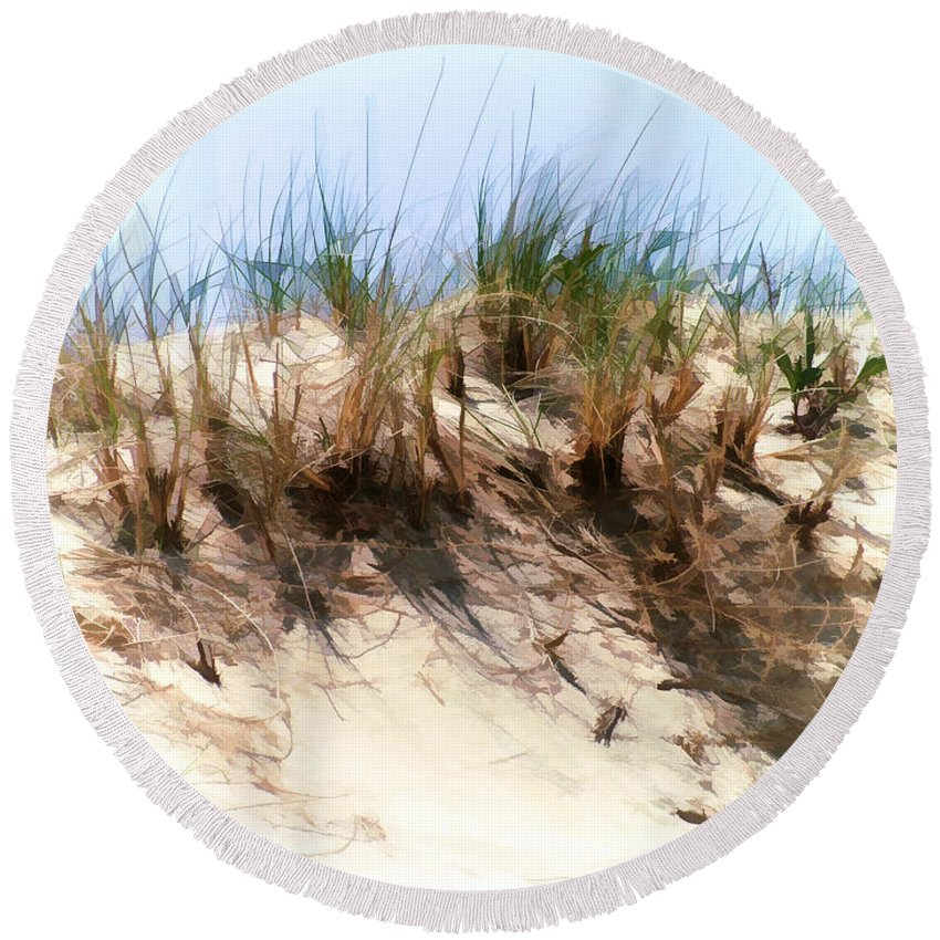 Beach Dune Ocean Sand Grasses Watercolor Sketch Simple Round Beach Towel featuring the painting Water Color Sketch Beach Dune by Elaine Plesser