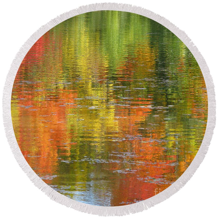 Autumn Round Beach Towel featuring the photograph Water Colors by Ann Horn