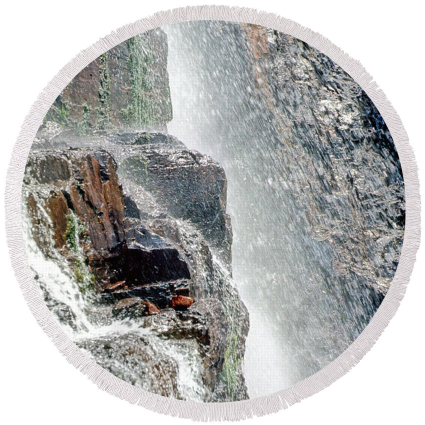 Colorado Photographs Round Beach Towel featuring the photograph Water Fall Off Mt. Wilson Colorado by Gary Benson