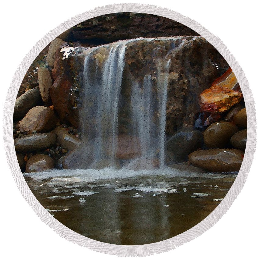 Digital Art Round Beach Towel featuring the photograph Water Feature Art by Mick Anderson