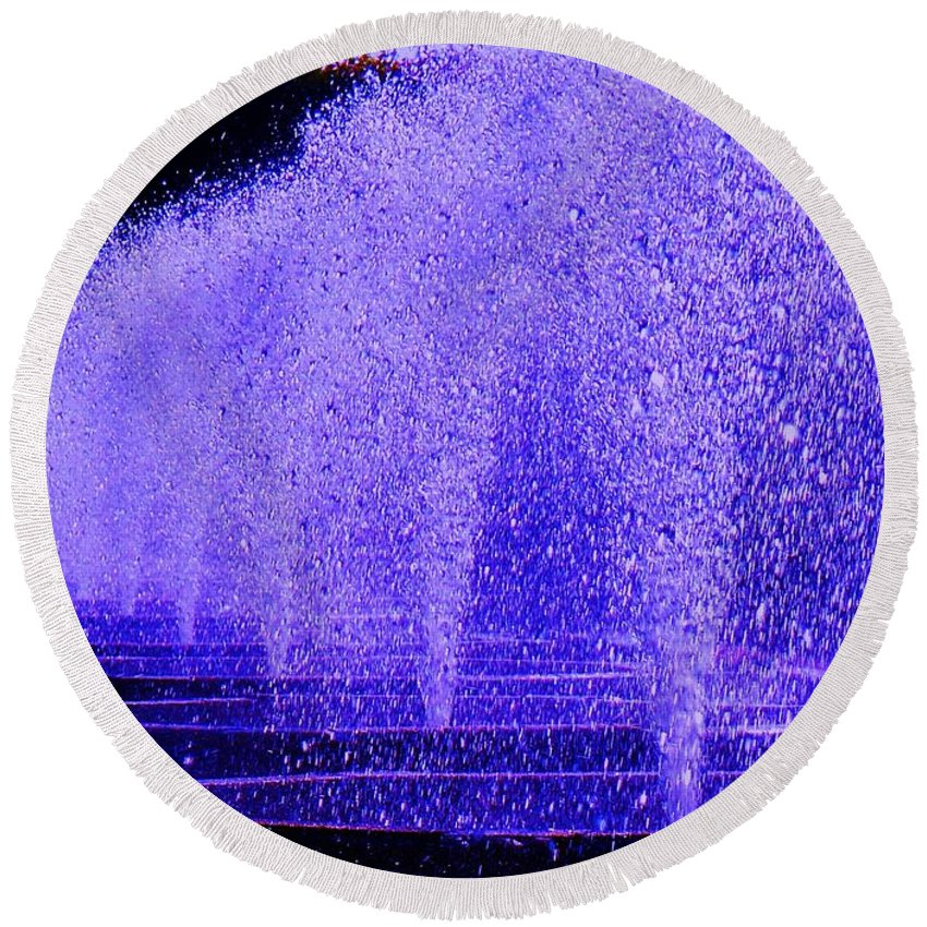 Fountain Round Beach Towel featuring the photograph Water Fountain by Eric Schiabor