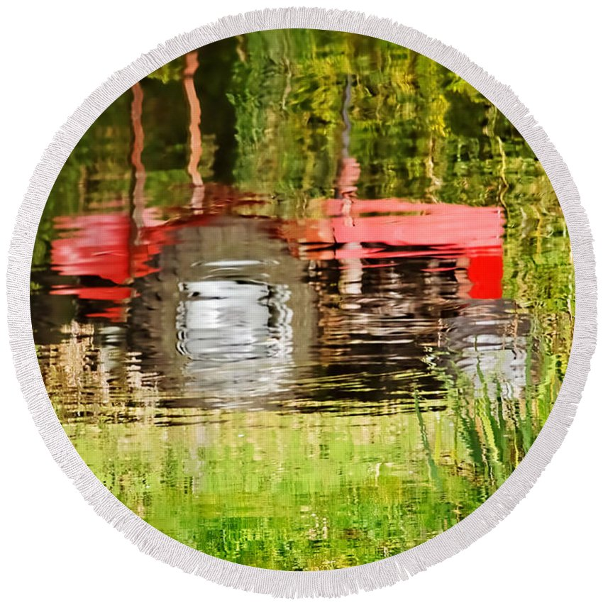 Tractor Round Beach Towel featuring the photograph Water Gardening by Susie Peek