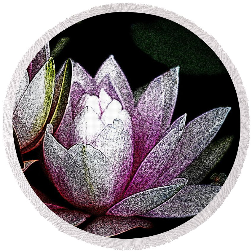 Water Lily Round Beach Towel featuring the digital art Water Lilies I by Kathy Sampson