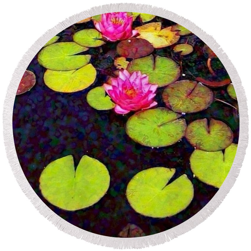 Sharkcrossing Round Beach Towel featuring the digital art Water Lilies With Pink Flowers - Vertical by Lyn Voytershark