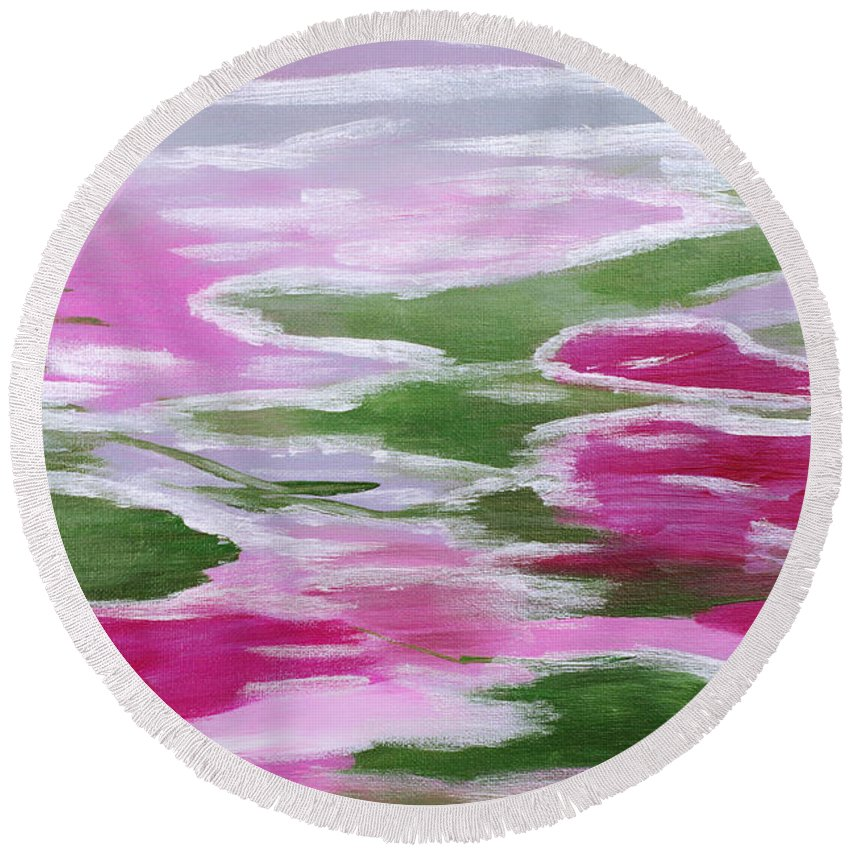 Bold Abstract Round Beach Towel featuring the painting Water Lily by Donna Blackhall