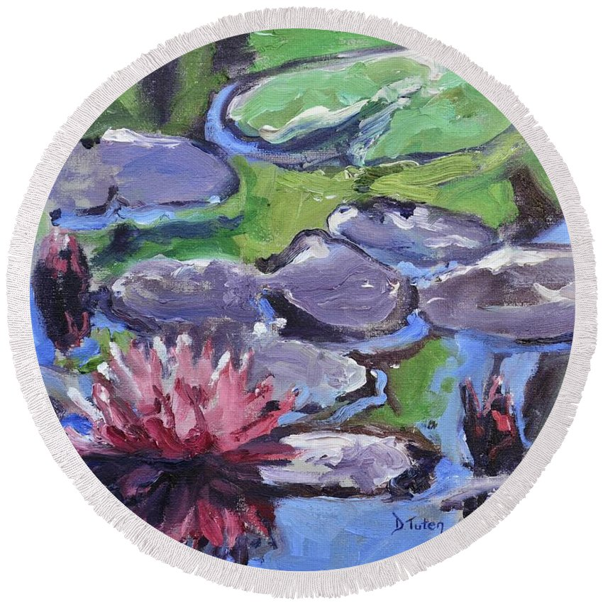 Lily Round Beach Towel featuring the painting Water Lily by Donna Tuten