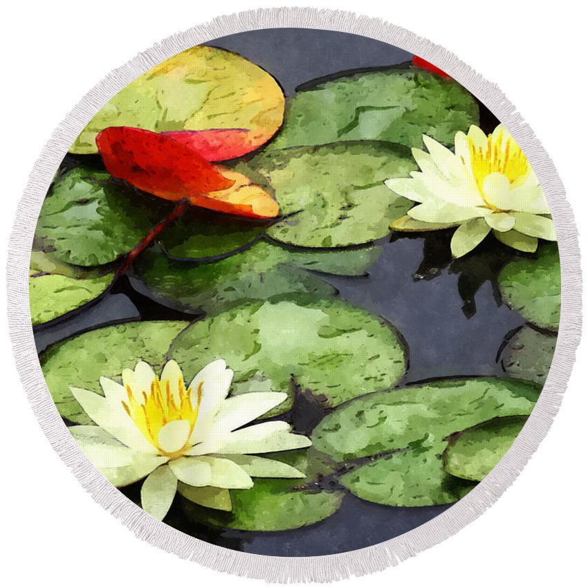 Garden Round Beach Towel featuring the photograph Water Lily Pond In Autumn by Susan Savad