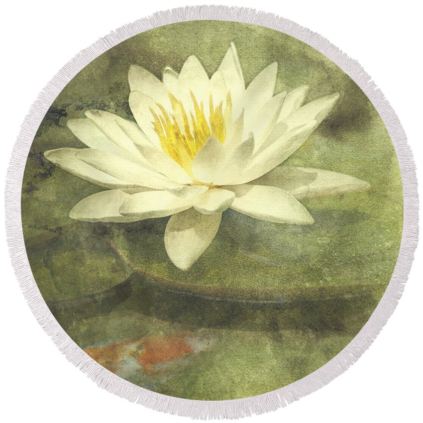 Water Lily Round Beach Towel featuring the photograph Water Lily by Scott Norris