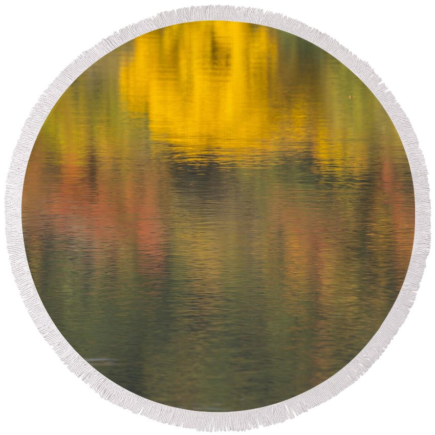 Fall Round Beach Towel featuring the photograph Water Reflections Abstract Autumn 2 C by John Brueske