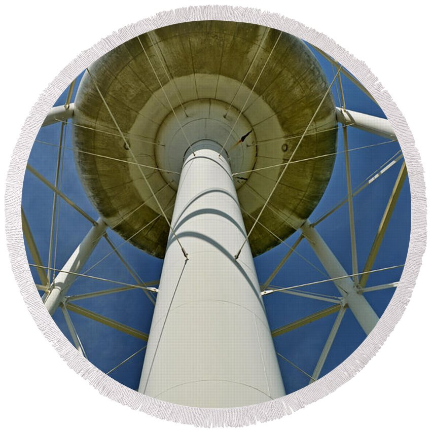 Water Tower Round Beach Towel featuring the photograph Water Tower Belly by Debbie Portwood