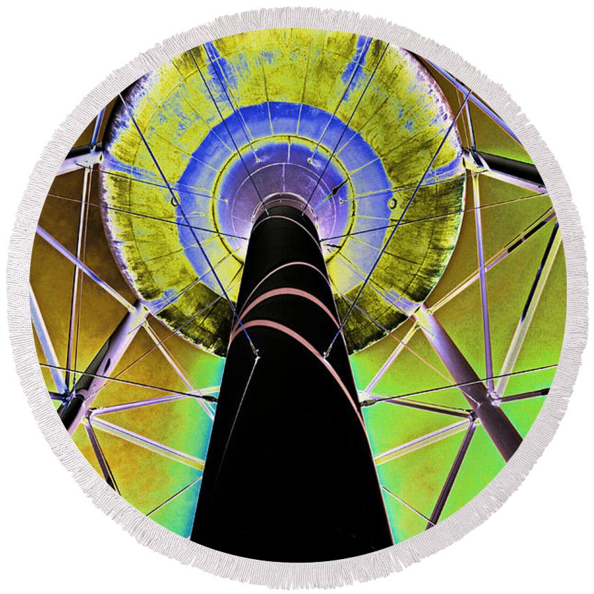 Water Tower Round Beach Towel featuring the photograph Water Tower Belly V by Debbie Portwood