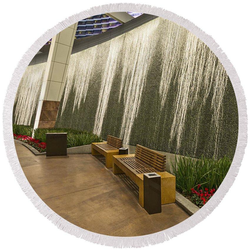 225 & Water Wall - Aria Resort Las Vegas Round Beach Towel