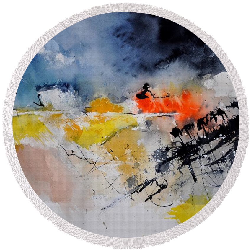 Abstract Round Beach Towel featuring the painting Watercolor 212132 by Pol Ledent