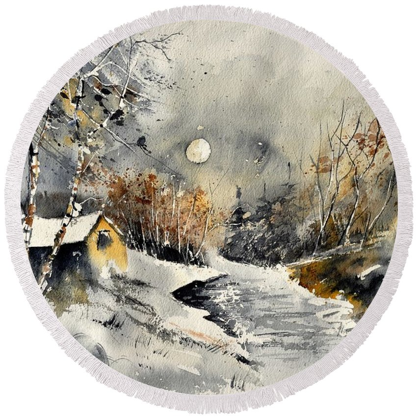 Landscape Round Beach Towel featuring the painting Watercolor 317001 by Pol Ledent