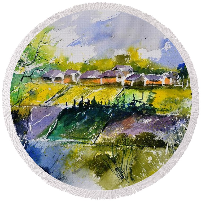 Landscape Round Beach Towel featuring the painting Watercolor 414022 by Pol Ledent