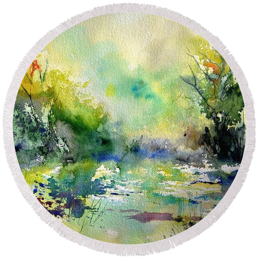 Lanscape Round Beach Towel featuring the painting Watercolor 45319041 by Pol Ledent