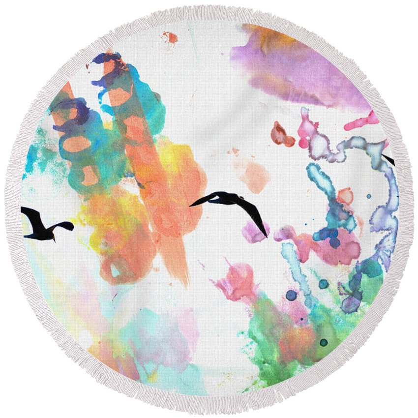 Watercolor Round Beach Towel featuring the photograph Watercolor Seagulls by Bill Cannon