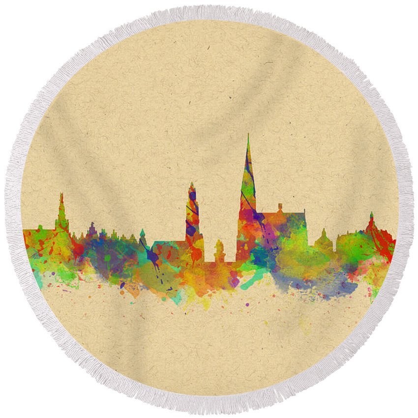 Antwerp Round Beach Towel featuring the photograph Watercolor Skyline Of Antwerp by Chris Smith