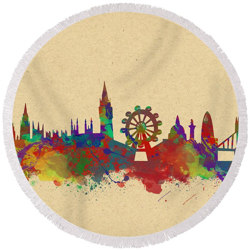 London Round Beach Towel featuring the photograph Watercolor Skyline Of London by Chris Smith