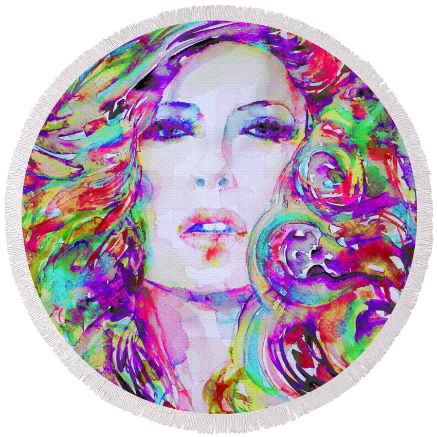 Girl Round Beach Towel featuring the painting Watercolor Woman.32 by Fabrizio Cassetta
