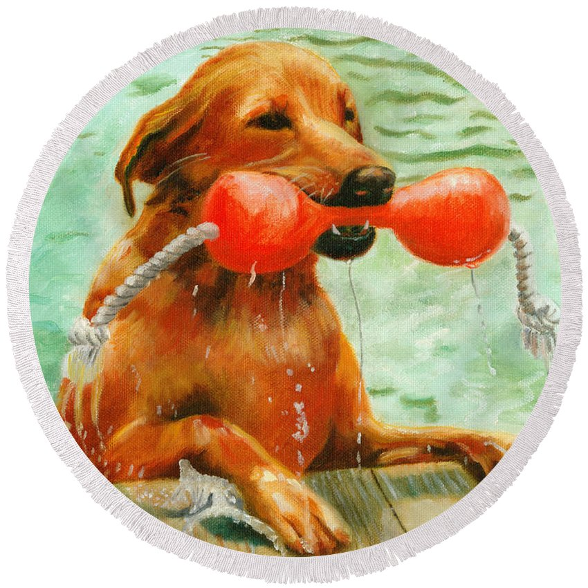 Dog Round Beach Towel featuring the painting Waterdog by Jill Ciccone Pike