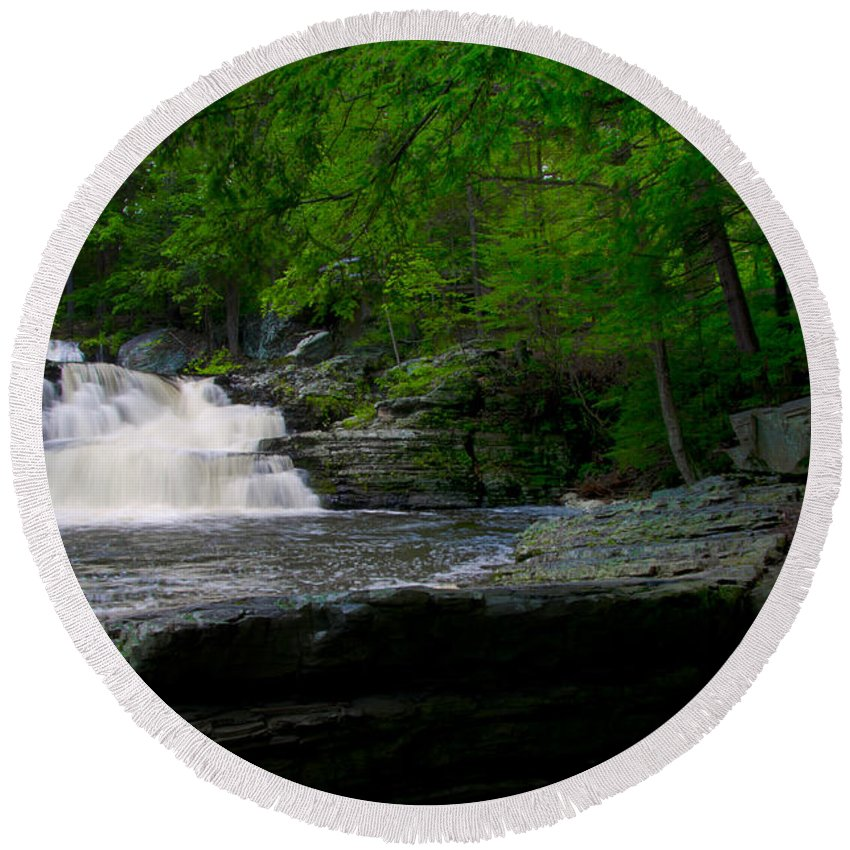 Waterfall Round Beach Towel featuring the photograph Waterfall At George W Childs Park by Bill Cannon