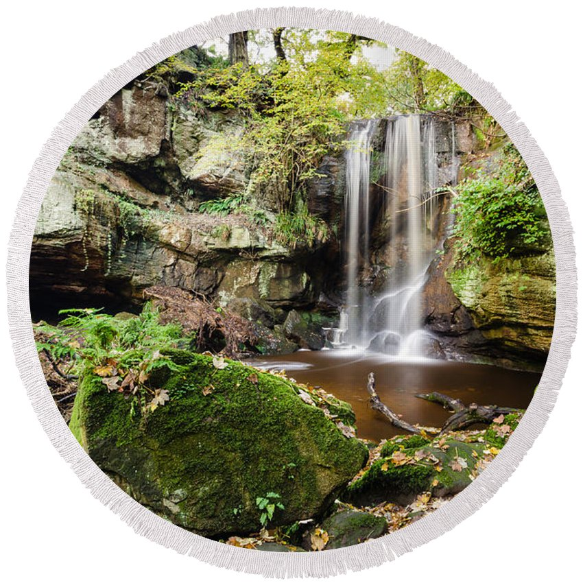 Northumberland Round Beach Towel featuring the photograph Waterfall At Roughting Linn by David Head